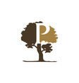 tree letter p vector image vector image