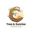 tree root and sunrise logo icon vector image