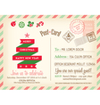 Vintage Merry Christmas postcard background vector image vector image