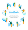 virtual reality glasses concept with people 3d vector image vector image