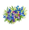 Watercolor blooming garden flowers vector image