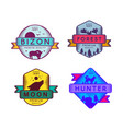 wild bizon and hunter moon and forest set logo vector image vector image