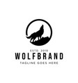wolf howling logo design vector image
