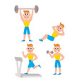 young man doing sport exercises training vector image