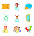 young professional icons set cartoon style vector image vector image