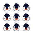 emoticon cute penguin emotion faces vector image