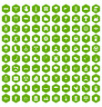 100 tree icons hexagon green vector image vector image