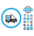 Ambulance Car Flat Icon with Bonus vector image