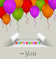 Birthday card with a sticker and balloons vector image vector image