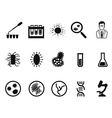 black microbiology icon set vector image
