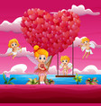 cartoon a cupid and little fairy in a romantic gar vector image vector image