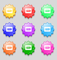 Cassette icon sign symbol on nine wavy colourful vector image