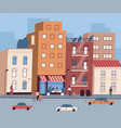 city street with tiny people walking and sitting vector image vector image
