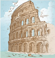 colosseum color hand draw vector image vector image