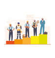 construction workers standing on raising bar graph vector image