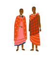 couple in traditional maasai costume vector image vector image