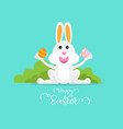 cute rabbit with easter egg happy easter day vector image