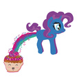 Cute unicorn and funny muffin vector image