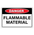 danger flammable material sign label isolated on vector image vector image