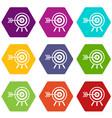 darts icon set color hexahedron vector image vector image