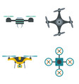 drone camera quadcopter icons set flat style vector image vector image