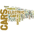 electric hybrid cars text background word cloud vector image vector image