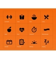 Fitness icons on orange background vector image vector image