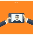 Flat selfie background Social media and vector image