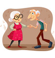 funny elderly couple dancing cartoon vector image