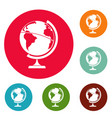 geographic planet icons circle set vector image vector image
