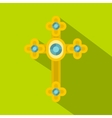 Golden cross with diamonds icon flat style vector image vector image