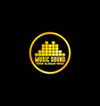 golden music emblem with black background vector image vector image