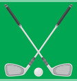 golf ball and sticks isolated on green background vector image vector image