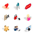 hand element icons set isometric style vector image