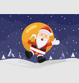 happy santa claus holding sack and jumping on the vector image