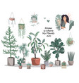 home is where my plants are poster cute house vector image vector image