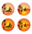 icons with palms and ships vector image