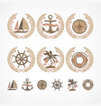 nautical symbol collection vector image vector image
