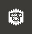 rock on recording studio label badge vector image vector image