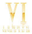 roman numeral six golden 3d sign vector image vector image