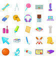 scholastic icons set cartoon style vector image vector image