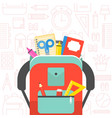 school supplies and school bag back to school vector image vector image