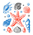 sea marine shells hand drawn sketch vector image vector image