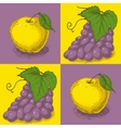 Seamless Pattern with Purple Grapes and Yellow vector image