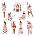 set images red indians vector image vector image