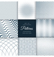 set of eight different line pattern background vector image vector image