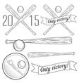 Set of logotypes with baseball bat vector image vector image