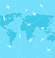Set planes on map background vector image vector image