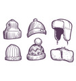 sketch mens caps warm winter and autumn vector image vector image