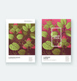 strawberry pattern design templates product hand vector image vector image